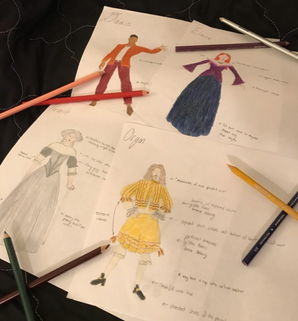 costume renderings for Tartuffe